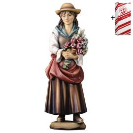 Woman with flowers + Gift box