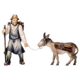SH Pulling herder with wood with donkey with wood - 2 Pieces