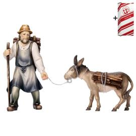 SH Pulling herder with wood with donkey with wood - 2 Pieces + Gift box